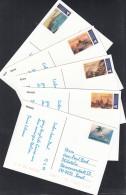 Swiss Post International, Postdienst-Vignetten Für Italien, Alle 5 Ansichtskarten, Touristenmarke 1-5 Gelaufen - Portofreiheit