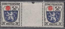 AllBes. FranzZone Allg.Ausg. 9 A Y ZW, Postfrisch **, Mit Farbigem Punkt - Zone Française