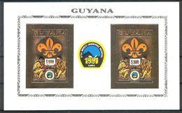 GUYANA  Chess,scouts Gold Foil S/Sheet Imper. MNH - Chess