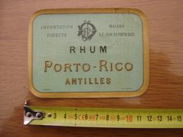 Etiquette RHUM PORTO RICO Antilles Depose MAX SIDAINE - Rhum