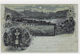 39045635 - Mondscheinlithographie Murnau. Osten Aus Gesehen, Rieden Am Staffelsee Koenig Ludwig Denkmal Gelaufen 1900 K - Germany