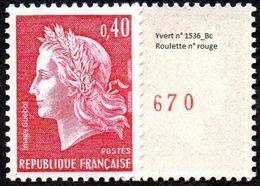 France Marianne De Cheffer N° 1536.Bc ** La République - Roulette - Numéro Rouge Au Verso - 1967-70 Marianne Of Cheffer