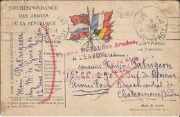 Carte  Franchise  Militaire  Expédiée De  PARIS  à  CHATEAUROUX  Armée Foch  En  1914 / Drapeaux Bleu Clair - Marcophilie (Lettres)