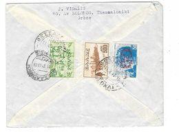 GRECE Poste Aérienne Enveloppe Par Avion  1947 Thessalonique à Paris - Poste Aérienne