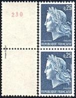 France Marianne De Cheffer N° 1535 A+b ** Roulette - La République, Le 0fr25 Bleu Gravé - Gomme Tropicale, Numéro Rouge - 1967-70 Marianne Of Cheffer
