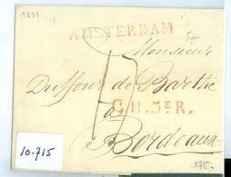 HANDGESCHREVEN BRIEF Uit 1811 Gelopen Van AMSTERDAM Naar CH.3e R. BORDEAUX (10.715) - Nederland