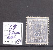 LUXEMBOURG : N° 54 * Toutes Ses Dents Mais Petit Aminci! - 1882 Allegorie