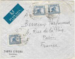 IRAK IRAQ Poste Aérienne Enveloppe Publicitaire Par Avion 1946 à Berneux Parfumeur Paris - Iraq