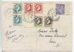 N° 634 Paire + N° 638 Paire + N°643 Paire / Carte De Pari Poiur Paris - 1944 Coq Et Marianne D'Alger