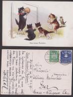 Vignette IDO Internationale Hilfssprache Charlottenburg 1927, Ak Katzen Cats Fußball Torhüter Zwickau - Briefe U. Dokumente