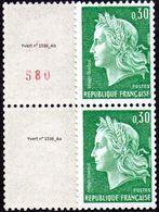 France Marianne De Cheffer N° 1536 Aa+b ** Roulette - La République, Le 0fr30 Vert - Gomme Tropicale, Numéro Rouge - 1967-70 Marianne Of Cheffer