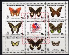 Solomon Islands 1997 Singpex Butterflies Overprint Sheetlet Of 9, MNH, SG 875/83 (B) - Solomon Islands (1978-...)