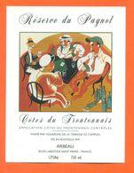 étiquette Vin Cotes Du Frontonnais Reserve Du Pagnol Arbeau à Labastide Saint Pierre -75 Cl - La Partie De Cartes Pagnol - Rode Wijn