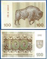 Lituanie 100 Talonas 1991 Neuf UNC Animal Buffle Litu Lithuania Paypal Skrill Ok - Lithuania