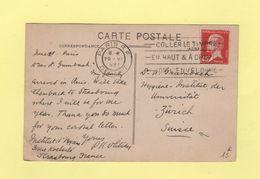 Type Pasteur - 45c Sur Carte Postale Destination Suisse - 1925 - 1877-1920: Période Semi Moderne