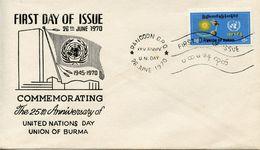 BURMA -  1970 The 25th Anniversary Of United Nations  FDC4108 - Myanmar (Burma 1948-...)
