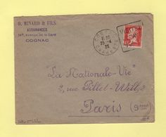 Type Pasteur - 45c Sur Lettre 2eme Echelon - Daguin Cognac - 1925 - 1877-1920: Période Semi Moderne