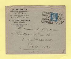 Type Pasteur - 50c Oblitere Daguin Visitez Nimes La Rome Francaise Et Le Gard - 1925 - 1877-1920: Période Semi Moderne