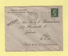 Type Pasteur - 30c Seul Sur Lettre Destination USA - Tarif Imprimes - 1930 - 1877-1920: Période Semi Moderne