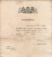 UNITED KINGDOM -1829 Register For A British Ship -Certification From British Consul At Montevideo Addressed To Port Cap - Documentos Históricos