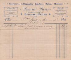 1908: Facture De ## DUVIVIER Frères, Grand'rue, 41, FONTAINE-l'ÉVÊQUE ##  Au ## Notaire BASTIN, E/V ## - Imprimerie & Papeterie