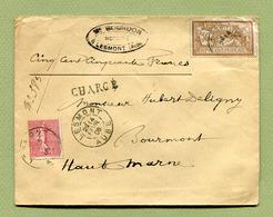 """LESMONT  (10) : LETTRE """" CHARGE """"  1908  Avec MERSON Et SEMEUSE - Postmark Collection (Covers)"""