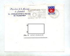 Devant De Lettre Flamme Saint Louis Porte Entete Dept Brasserie Lutterbach - Marcophilie (Lettres)
