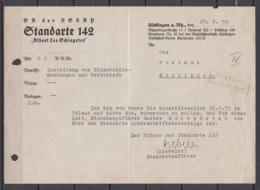 """Dt.Reich Vordruck """" SA Der NSDAP Standarte 142 """"Albert Leo Schlageter"""" Säckingen A.Rh. Anschreiben 1939 - Deutschland"""