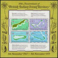 British Indian Ocean Territory 1975 10th Anniv Of Territory. Maps Souvenir Sheet Unmounted Mint. - British Indian Ocean Territory (BIOT)