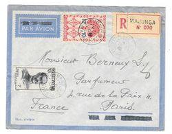 MADAGASCAR Enveloppe Poste Aérienne Recommandé Majunga 1946 Ou 1947 à Berneux Parfumeur PARIS - Madagascar (1889-1960)