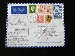 RECOMMANDE DE PORNICHET POUR CEYLAN   ET RETOUR - Postmark Collection (Covers)