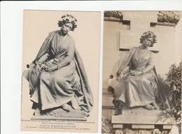 """1 CARTE PHOTO + 1 CPA:NOISSEVILLE (57) MONUMENT FRANÇAIS """"LE SOUVENIR UNE LORRAINE"""" DU SCULPTEUR """" EMMANUEL HANNAUX"""" - Otros Municipios"""