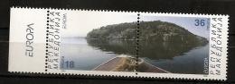 Macedoine 2001 N° 225 / 6 ** Europa, Eau, Paysage, Rocher, Îlot, Lac, Bateau, Prespa, Golem Grad, Ile Des Serpents - Mazedonien