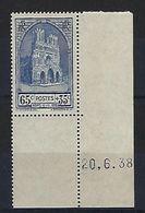 """FR YT 399 """" Restauration Cathédrale De Reims """" 1938 Neuf** BDF Daté - Frankreich"""