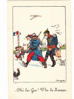 CPA Guerre 14 Anti-Kaïser Anti-Guillaume II Patriotique Caricature Satirique Militaire Humour Illustrateur L. BOUGIAT - Patriotiques