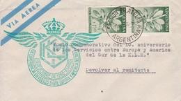 ARGENTINE. AIRMAIL. VUELO CONMEMORIATIVO 10° ANIV SRVICIOS ENTRE EUROPA Y AMERICA DEL SUR DE LA KLM.-TBE-BLEUP - Airmail