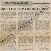 1970 : Document, NESLES-LA-VALLEE (Val-d'Oise), Mort De L'abbé Charles Feiden, Fidèle Curé De La Paroisse - Documents Historiques