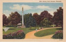 Wisconsin Kenosha Library Park Curteich - Kenosha