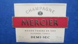 ETIQUETTE CHAMPAGNE MERCIER DEMI SEC - Champagne
