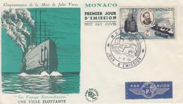 Enveloppe  FDC  1er  Jour  MONACO   Cinquantenaire  Mort  De  JULES  VERNE  1955 - FDC