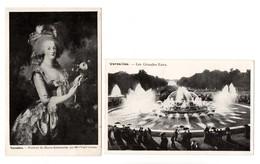 """78 - VERSAILLES . """" LES GRANDES EAUX """" & """" PRTRAIT DE MARIE-ANTOINETTE """" . 2 CARTES POSTALES - Réf. N°9209 - - Versailles (Château)"""