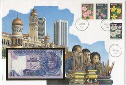 MALAYSIA ENVELOPPE AVEC LES N°440/443 (FLEURS SAUVAGES)  + BILLET NEUF - Malaysia (1964-...)