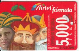 SPAIN - Christmas, Airtel Prepaid Card 5000 Ptas, Exp.date 31/12/00, Used - Spanje