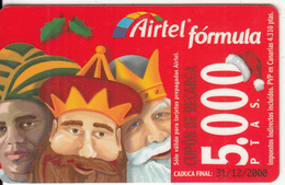 SPAIN - Christmas, Airtel Prepaid Card 5000 Ptas, Exp.date 31/12/00, Used - Spagna