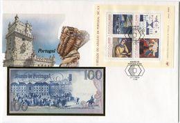 PORTUGAL ENVELOPPE AVEC LE BLOC-FEUILLET N°50 (5 SIECLES DE L'AZULEJO)  + BILLET NEUF - 1910-... République