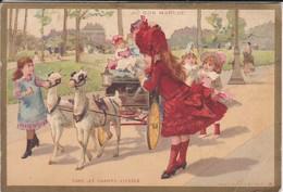 CHROMO--AU BON MARCHE--dans Les Champs-élysées-( Attelage De Chèvre Jouets Poupées )--voir 2 Scans - Au Bon Marché