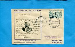 "Enveloppe Ilustrée ""FLORIAN""N° 1021 Cad-Sauve -gard-2 AV 1955- - FDC"