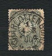 """GERMANIA 1875 - Aquila Imperiale Con Nastro In Ovale - 50 Pf. Grigio Nero In """"PFENNIGE"""" - Yvert DR 35a - Germania"""