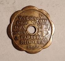 TOKEN JETON GETTONE TRASPORTI TRANSIT VALE PER UNA CORSA A TARIFFA RIDOTTA 1920 MILANO - Monetary/Of Necessity