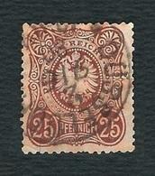 """GERMANIA 1875 - Aquila Imperiale Con Nastro In Ovale - 25 P. Bruno Rosso - Valore In """"PFENNIGE"""" - Michel DR 35 - Germania"""